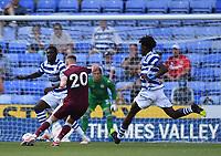 21st July 2021; Madejski Stadium, Reading, Berkshire, England; Pre Season Friendly Football, Reading versus West Ham United; A shot from Jarrod Bowen of West Ham is blocked by Dejan Tetek of Reading
