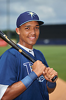 Luis Curbelo (18) of Puerto Rico Baseball Academy in Carolian, Puerto Rico playing for the Tampa Bay Rays scout team during the East Coast Pro Showcase on July 30, 2015 at George M. Steinbrenner Field in Tampa, Florida.  (Mike Janes/Four Seam Images)