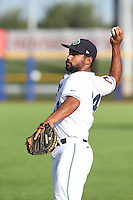 Alexis Olmeda (24) of the Hillsboro Hops throws before a game against the Salem-Keizer Volcanoes at Ron Tonkin Field on July 27, 2015 in Hillsboro, Oregon. Hillsboro defeated Salem-Keizer, 9-2. (Larry Goren/Four Seam Images)