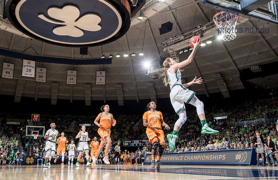 Jan. 19, 2015; Madison Cable (22) goes up for a shot in the second half against Tennessee. Notre Dame won 88-77. (Photo by Matt Cashore/University of Notre Dame)