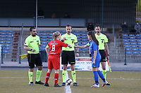 Jana Simons (8) of Woluwe gives a fist bump to Sien Vandersanden (10) of KRC Genk after the coin toss before  a female soccer game between FC Femina White Star Woluwe and KRC Genk on the third matchday of play off 2 in the 2020 - 2021 season of Belgian Scooore Womens Super League , Friday 23 th of April 2021  in Woluwe , Belgium . PHOTO SPORTPIX.BE | SPP | SEVIL OKTEM