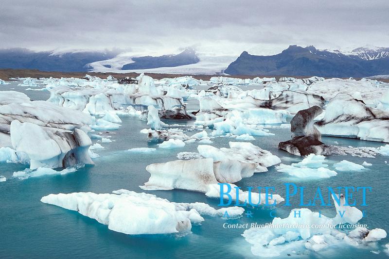 Iceberg & Lave ash Stein, Jokulsarlon Lagoon Iceland, North Atlantic Ocean