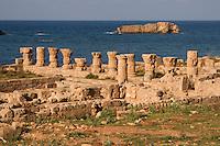 Apollonia, Susa, Libya -- Roman Baths, Mediterranean in Background