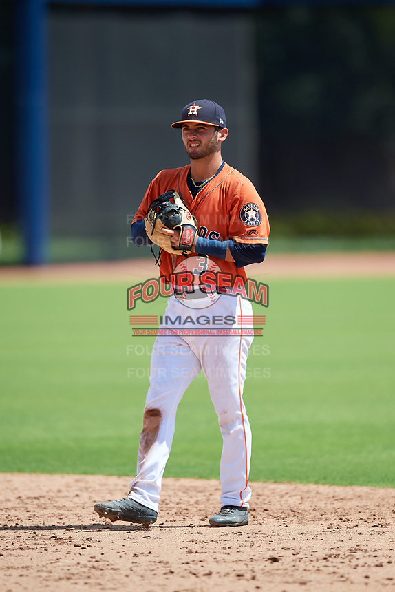 GCL Astros second baseman Ronaldo Urdaneta (3) during a game against the GCL Marlins on August 5, 2018 at FITTEAM Ballpark of the Palm Beaches in West Palm Beach, Florida.  GCL Astros defeated GCL Marlins 2-1.  (Mike Janes/Four Seam Images)