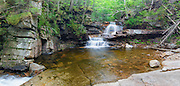 Panoramic of Bemis Brook Falls along Bemis Brook in Harts Location, New Hampshire USA during the spring months. This area is part of Crawford Notch State Park. This image consists of seven images stitched together.
