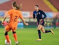BREDA, NETHERLANDS - NOVEMBER 27: Christen Press #23 of the USWNT defends during a game between Netherlands and USWNT at Rat Verlegh Stadion on November 27, 2020 in Breda, Netherlands.