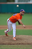 Senior pitcher David Kopp (49) of the Clemson Tigers in a fall practice intra-squad Orange-Purple scrimmage on Sunday, September 27, 2015, at Doug Kingsmore Stadium in Clemson, South Carolina. (Tom Priddy/Four Seam Images)