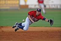 Brian Dozier Shortstop Elizabethton Twins  (Minnesota Twins) dives for a ball at Joe O'Brien Stadium August 8, 2009 in Elizabethton, TN. (Photo by Tony Farlow/Four Seam Images)