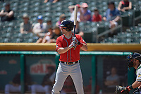 Brett Nicholas (15) of the El Paso Chihuahuas bats against the Salt Lake Bees at Smith's Ballpark on July 8, 2018 in Salt Lake City, Utah. El Paso defeated Salt Lake 15-6. (Stephen Smith/Four Seam Images)