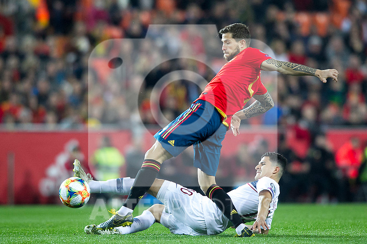 Spain's Inigo Martinez and Norway's Tarik Elyounoussi  during the qualifying match for Euro 2020 on 23th March, 2019 in Valencia, Spain. (ALTERPHOTOS/Alconada)