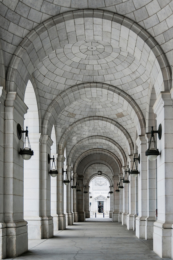 Portico walkway at Union Station, Washington DC, USA