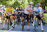July 9th 2021. Carcassonne, Languedoc, France;   POGACAR Tadej (SLO) of UAE TEAM EMIRATES, QUINTANA Nairo (COL) of TEAM ARKEA - SAMSIC, VINGEGAARD Jonas (DEN) of JUMBO - VISMA  during stage 13 of the 108th edition of the 2021 Tour de France cycling race, a stage of 219,9 kms between Nimes and Carcassonne.