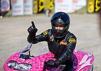 Oct 16, 2016; Ennis, TX, USA; NHRA pro stock motorcycle rider Jerry Savoie during the Fall Nationals at Texas Motorplex. Mandatory Credit: Mark J. Rebilas-USA TODAY Sports