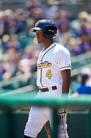 Montgomery Biscuits right fielder Justin Williams (4) on deck during a game against the Mississippi Braves on April 25, 2017 at Montgomery Riverwalk Stadium in Montgomery, Alabama.  Mississippi defeated Montgomery 3-2.  (Mike Janes/Four Seam Images)