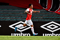 BOGOTA-COLOMBIA, 06-10-2020: Luis Seijas de Independiente Santa Fe, celebra el cuarto gol anotado al Alianza Petrolera, durante partido de la fecha 12 entre Independiente Santa Fe y Alianza Petrolera, por la Liga BetPlay DIMAYOR 2020-I, en el estadio Nemesio Camacho El Campin de la ciudad de Bogota. / Luis Seijas of Independiente Santa Fe, celebrates after scoring the four goal to Alianza Petrolera, during a match of the 12th date between Independiente Santa Fe and Alianza Petrolera, for the BetPlay DIMAYOR Leguaje 2020-I at the Nemesio Camacho El Campin Stadium in Bogota city. / Photo: VizzorImage / Luis Ramirez / Staff.