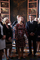 Victoria, Crown Princess of Sweden and  Duchess of Västergötland and her husband Daniel  during a visit to San Francisco de Asis Cathedral in dowtown Lima,  Peru, October 20 2015. The Princess is in the second day of her visit to Peru along with her husband  Daniel Westling. <br /> <br /> <br /> Foto Geraldo Caso/Archivolatino/Astufoto
