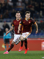 Calcio, Serie A: Roma vs Frosinone. Roma, stadio Olimpico, 30 gennaio 2016.<br /> Roma's Stephan El Shaarawy celebrates with teammate Radja Nainggolan, left, after scoring during the Italian Serie A football match between Roma and Frosinone at Rome's Olympic stadium, 30 January 2016.<br /> UPDATE IMAGES PRESS/Isabella Bonotto