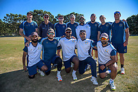 The Johnsonville team pose for a team phtro before the Pearce Cup Wellington men's cricket final between Johnsonville and Taita at Alex Moore Park in Johnsonville, New Zealand on Friday, 26 March 2021. Photo: Dave Lintott / lintottphoto.co.nz