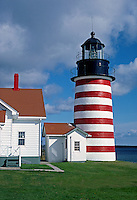 WEST QUODDY HEAD LIGHTHOUSE was commissioned in 1808 by President THOMAS JEFFERSON and rebuilt in 1858 - MAINE, USA