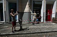 Pictured: Properties have been sealed off in Athens, Greece. Friday 19 July 2019<br /> Re:A 5.3-magnitude has struck Greece, 14 miles northwest of Athens shortly after 2pm local time.