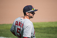 Greg Garcia (5) of the Memphis Redbirds before the game against the Omaha Storm Chasers in Pacific Coast League action at Werner Park on April 22, 2015 in Papillion, Nebraska.  (Stephen Smith/Four Seam Images)