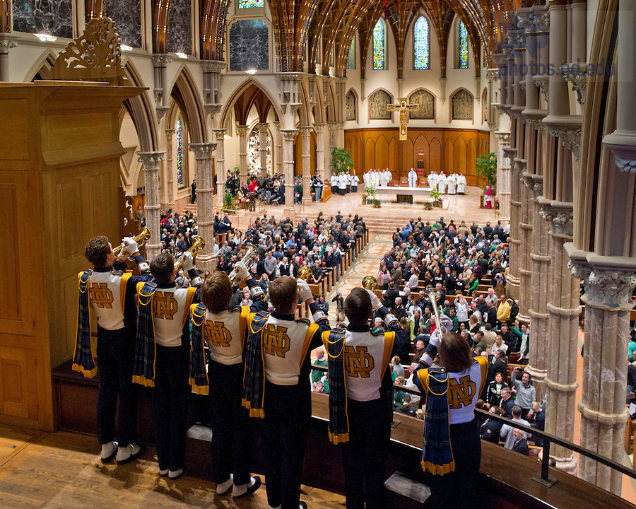 Oct. 6, 2012; Notre Dame Marching Band trumpets play the Alma Mater after the Votive Mass of the Blessed Virgin Mary at Holy Name Cathedral in Chicago before the Shamrock Series game...Photo by Matt Cashore/University of Notre Dame