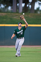 Daytona Tortugas left fielder Brian O'Grady (12) catches a fly ball during a game against the Brevard County Manatees on August 14, 2016 at Space Coast Stadium in Viera, Florida.  Daytona defeated Brevard County 9-3.  (Mike Janes/Four Seam Images)