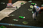 Runners pass by discarded water cups while competing in the ING New York City Marathon in New York, New York on November 4, 2007.  Martin Lel (KEN) won the men's race with a time of 2:09:04  Paula Radcliffe (GBR) won the women's race with a time of 2:23:09.