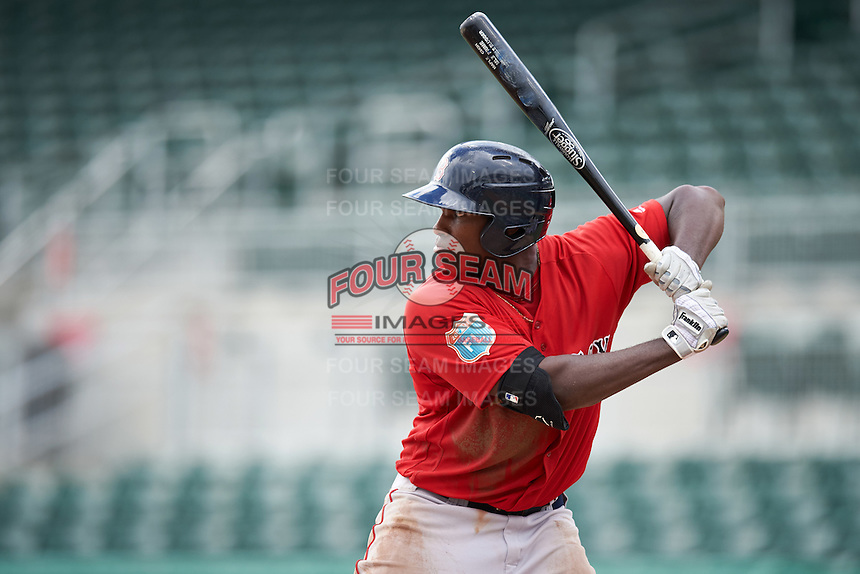 Boston Red Sox Josh Ockimey (18) during an Instructional League game against the Minnesota Twins on September 23, 2016 at JetBlue Park at Fenway South in Fort Myers, Florida.  (Mike Janes/Four Seam Images)
