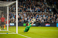Kansas City, KS - Wednesday August 9, 2017:  Tim Melia makes a diving save during a Lamar Hunt U.S. Open Cup Semifinal match between Sporting Kansas City and the San Jose Earthquakes at Children's Mercy Park.