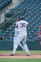 AZL Indians 2 left fielder Cristopher Cespedes (30) at bat during an Arizona League game against the AZL Angels at Tempe Diablo Stadium on June 30, 2018 in Tempe, Arizona. The AZL Indians 2 defeated the AZL Angels by a score of 13-8. (Zachary Lucy/Four Seam Images)