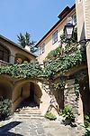 Austria, Lower Austria, UNESCO World Heritage Wachau, Duernstein: old town, Townhall courtyard, staircase to register office