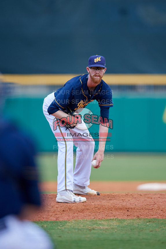 Montgomery Biscuits relief pitcher Travis Ott (28) looks in for the sign during a game against the Biloxi Shuckers on May 8, 2018 at Montgomery Riverwalk Stadium in Montgomery, Alabama.  Montgomery defeated Biloxi 10-5.  (Mike Janes/Four Seam Images)