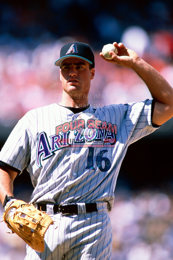 Travis Lee of the Arizona Diamondbacks participates in a Major League Baseball game at Dodger Stadium during the 1998 season in Los Angeles, California. (Larry Goren/Four Seam Images)