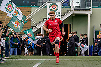 Jersey Reds players enter the field of play for the Championship Cup QF match between Ealing Trailfinders and Jersey Reds at Castle Bar, West Ealing, England  on 22 February 2020. Photo by David Horn.