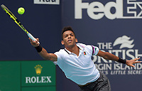 MIAMI GARDENS, FLORIDA - MARCH 29: John Isner of USA defeats Felix Auger-Aliassime of Canada in the semi final during day twelve of the Miami Open tennis on March 29, 2019 in Miami Gardens, Florida.<br /> <br /> <br /> People: Felix Auger-Aliassime