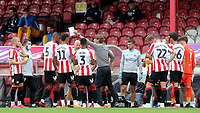 Brentford Manager, Thomas Frank, issues some instructions to his players in the drinks break during Brentford vs Preston North End, Sky Bet EFL Championship Football at Griffin Park on 15th July 2020