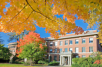 Agriculture Building with fall color. Oregon State University.