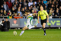 Ryan Lamb of Northampton Saints takes a conversion kick during the LV= Cup second round match between Ospreys and Northampton Saints at Riverside Hardware Brewery Field, Bridgend (Photo by Rob Munro)