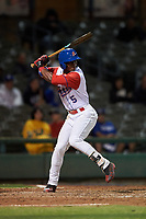 Stockton Ports left fielder Dairon Blanco (5) at bat during a California League game against the Rancho Cucamonga Quakes at Banner Island Ballpark on May 16, 2018 in Stockton, California. Rancho Cucamonga defeated Stockton 6-3. (Zachary Lucy/Four Seam Images)