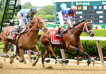 Coach Inge (no. 1), ridden by John Velazquez and trained by Todd Pletcher, wins the 127th running of the grade 2 Brooklyn Invitational Stakes for four year olds and upward on June 06, 2015 at Belmont Park in Elmont, New York. (Bob Mayberger/Eclipse Sportswire)