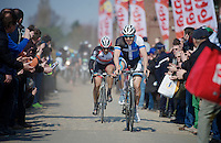 111th Paris-Roubaix 2013..Sep Vanmarcke (BEL) leading Fabian Cancellara (CHE) through the Carrefour de L'arbre