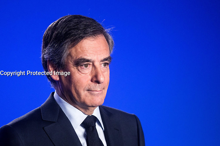 ConfÈrence de presse de FranÁois Fillon ‡ son QG de campagne ‡ Paris, France, le 01/03/2017.