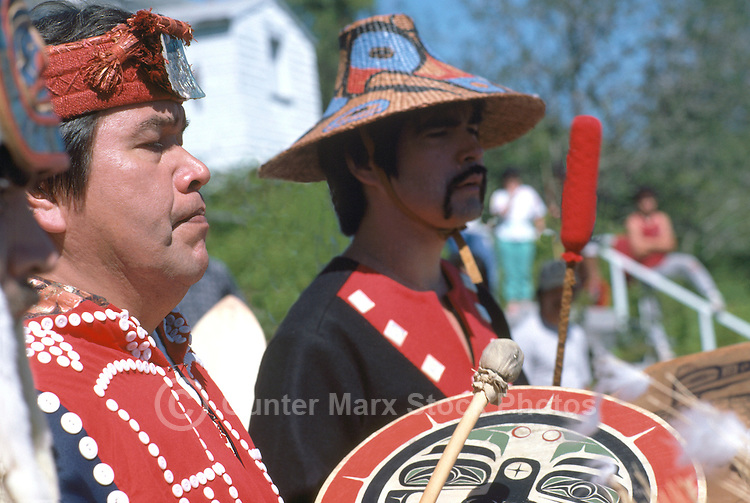 Bella Bella, BC, British Columbia, Canada - Native American Indians, in Traditional Ceremonial Regalia, celebrating at Pow Wow (No Model Release Available)