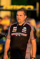 May 4, 2012; Commerce, GA, USA: NHRA crew member for top fuel dragster driver Doug Kalitta during qualifying for the Southern Nationals at Atlanta Dragway. Mandatory Credit: Mark J. Rebilas-