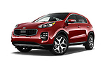 Stock pictures of low aggressive front three quarter view of a 2018 KIA Sportage EX 5 Door SUV