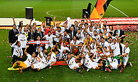 21st August 2020, Rheinenergiestadion, Cologne, Germany; Europa League Cup final Sevilla versus Inter Milan;  Players and staff of Sevilla FC celebrate with the UEFA Europa League Trophy following victory