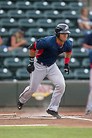 Jose Marmolejos (3) of the Potomac Nationals starts down the first base line against the Winston-Salem Dash at BB&T Ballpark on July 15, 2016 in Winston-Salem, North Carolina.  The Dash defeated the Nationals 10-4.  (Brian Westerholt/Four Seam Images)