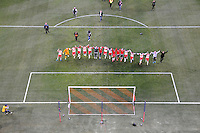 HARRISON, NJ - Sunday March 22, 2015: The New York Red Bulls take on DC United in their home opener at Red Bull Arena in 20th season of regular MLS play.  Red Bull players celebrate after the game.