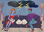 Illustrative image of clouds with lightening over couple representing relationship difficulty
